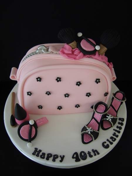 make-up bag and shoes birthday cake